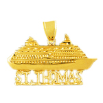 14k gold 32mm st. thomas cruise ship pendant