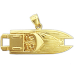 14kt gold two seater speed boat pendant