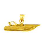 14kt gold speed boat pendant
