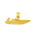 14kt gold speed race boat pendant