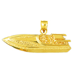 14 karat gold two seater speed race boat pendant