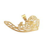 14k gold airboat pendant