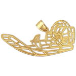 14k gold cut-out airboat pendant