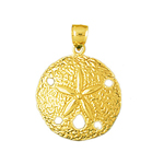 14k gold sand dollar seashell charm