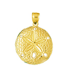 14k yellow gold polished sand dollar charm