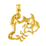 14k gold scuba diver with dolphins pendant