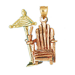 14k two tone gold 3d adirondack beach chair pendant