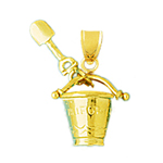 14k gold 3d california pail and shovel charm