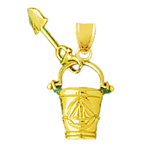 14k gold 3d pail and shovel charm
