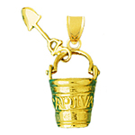 14k gold 3d captiva pail and shovel charm