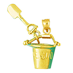 14k gold 3d cape cod pail and shovel charm