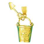14k gold 3d beach pail and shovel charm