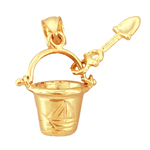14kt gold 3d beach pail and shovel charm