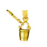 14 karat gold 3d pail and shovel charm