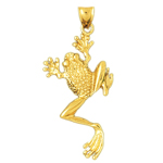 14kt yellow gold frog pendant