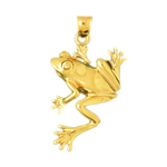 14k gold 25mm frog pendant
