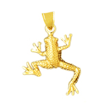 14k gold tree frog pendant