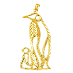 14k gold cut-out penguin with calf pendant