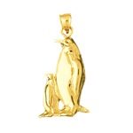 14k gold penguin and calf charm