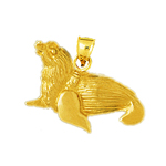14k gold furred sea lion pendant