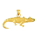 14kt yellow gold alligator charm pendant