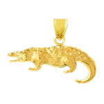 14k yellow gold hungry alligator charm