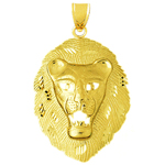 14k gold lion head pendant