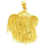 14k gold furry lion head pendant