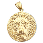 14k gold lion head pendant medallion