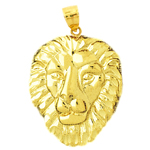 14kt gold 26mm lion head pendant