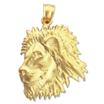 14 kt gold lion head pendant