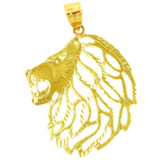 14k gold lion head with cut-out mane pendant