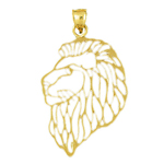 14 kt gold filigree lion head pendant