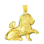 14k gold 30mm lion pendant