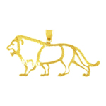 14k gold cut-out lion pendant