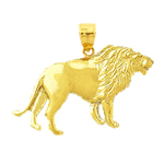 14 karat gold snarling lion pendant