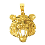 14k gold growling tiger head pendant