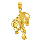 14k gold tiger pendant