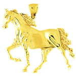14k gold polished horse pendant