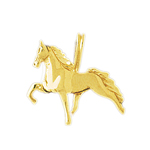 14k yellow gold 3d trotting horse charm