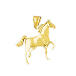 14k gold walking horse pendant