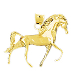 14k gold 35mm horse pendant