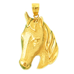 14k gold horse head pendant