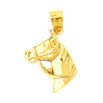 14kt gold bridled horse head charm