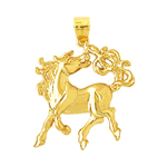14k yellow gold show horse charm