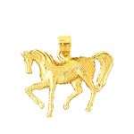 14k gold trained horse pendant