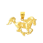14k gold galloping horse charm