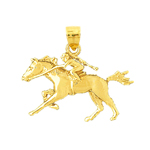 14k gold racing horse pendant