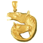 14k gold double horse head pendant