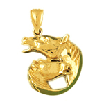 14kt gold double horse head pendant